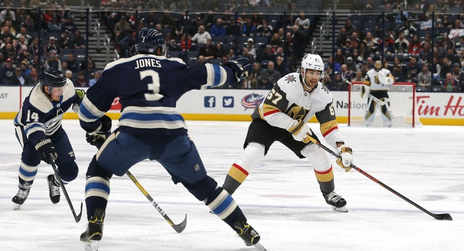 Seth Jones attempts to defend Max Pacioretty of the Vegas Golden Knights