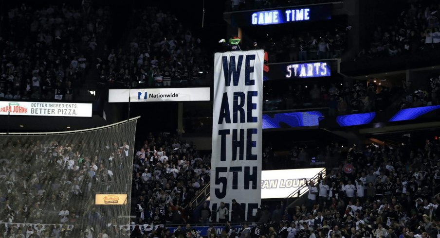 Apr 16, 2019; Columbus, OH, USA; Columbus mascot Stinger stands over the 5th Line banner prior to game four of the first round of the 2019 Stanley Cup Playoffs in the game of the Tampa Bay Lightning against the Columbus Blue Jackets at Nationwide Arena.