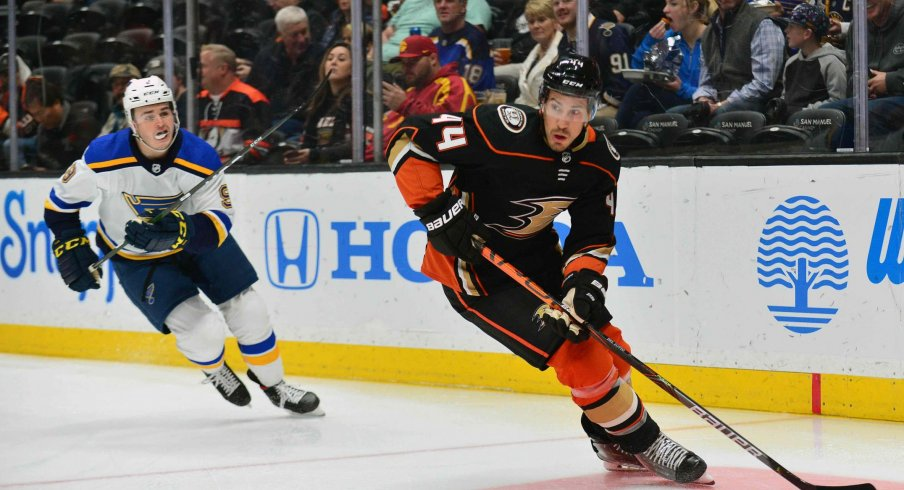 February 11, 2020; Anaheim, California, USA; Anaheim Ducks defenseman Michael Del Zotto (44) moves the puck ahead of St. Louis Blues left wing Sammy Blais (9) during the first period at Honda Center.