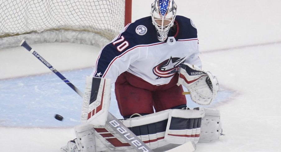 Aug 19, 2020; Toronto, Ontario, CAN; Columbus Blue Jackets goaltender Joonas Korpisalo (70) during warm up before game five of the first round of the 2020 Stanley Cup Playoffs at Scotiabank Arena.