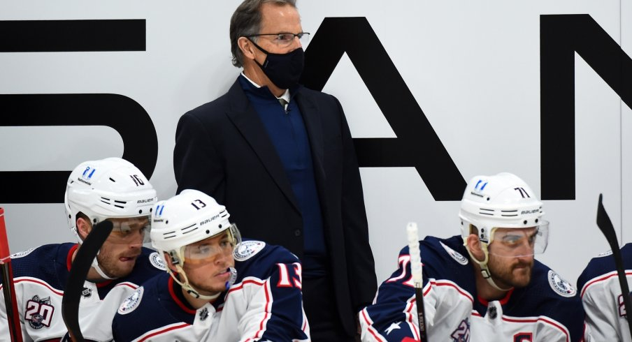 Columbus Blue Jackets head coach John Tortorella looks on from the bench during the first period against the Nashville Predators at Bridgestone Arena.