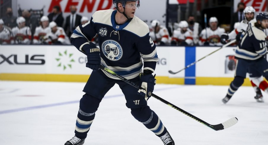 Columbus Blue Jackets center Mikko Koivu (9) skates against the Florida Panthers in the first period at Nationwide Arena.