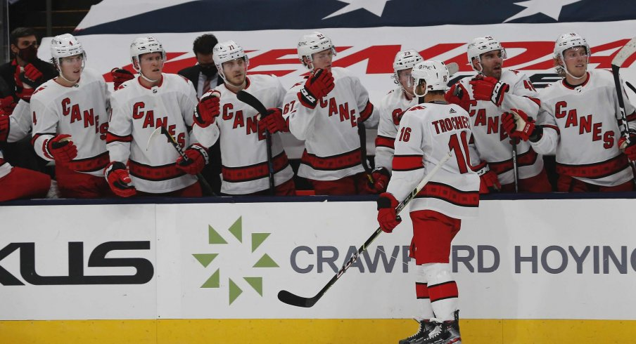 Feb 7, 2021; Columbus, Ohio, USA; Carolina Hurricanes center Vincent Trocheck (16) celebrates a goal against the Columbus Blue Jackets during the second period at Nationwide Arena.