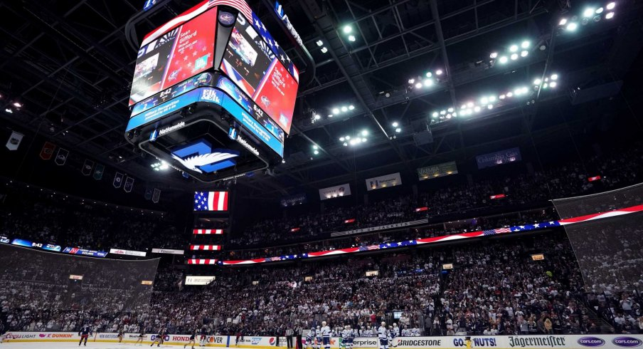 Apr 16, 2019; Columbus, OH, USA; A view of the arena as the Tampa Bay Lightning play against the Columbus Blue Jackets in game four of the first round of the 2019 Stanley Cup Playoffs at Nationwide Arena.