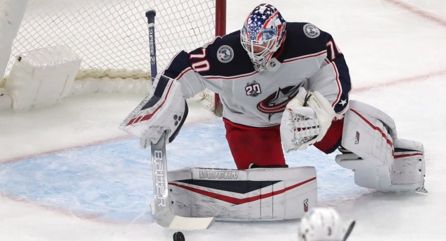 Columbus Blue Jackets goaltender Joonas Korpisalo makes a save during the first period against the Chicago Blackhawks at the United Center.