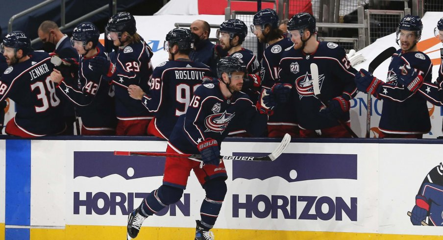 Feb 18, 2021; Columbus, Ohio, USA; Columbus Blue Jackets center Max Domi (16) celebrates a goal against the Nashville Predators during the second period at Nationwide Arena.