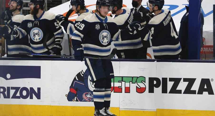 Feb 25, 2021; Columbus, Ohio, USA; Columbus Blue Jackets right wing Patrik Laine (29) celebrates a goal against the Chicago Blackhawks during the second period at Nationwide Arena.