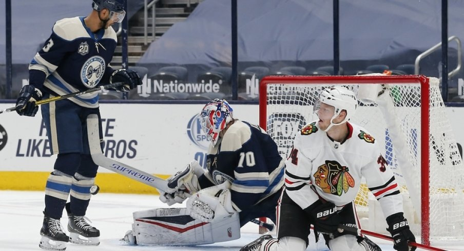 Columbus Blue Jackets goalie Joonas Korpisalo (70) makes a save against the Chicago Blackhawks during the second period at Nationwide Arena.