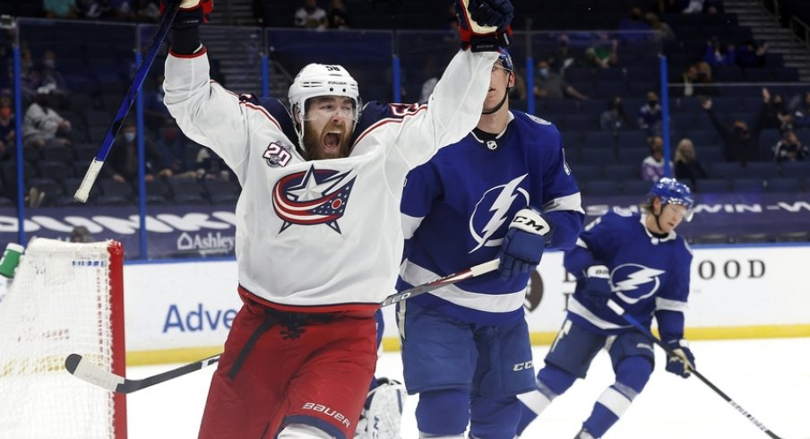 Columbus Blue Jackets defenseman David Savard (58) celebrates after scoring a goal against the Tampa Bay Lightning during the second period at Amalie Arena.