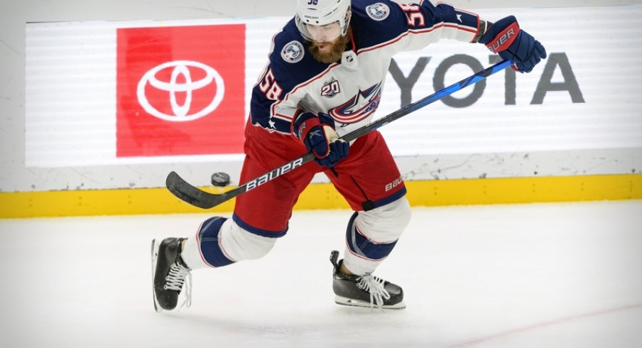 Columbus Blue Jackets defenseman David Savard (58) controls the puck during the second period against the Dallas Stars at the American Airlines Center.