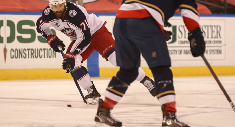 Columbus Blue Jackets left wing Nick Foligno (71) controls the puck against the Florida Panthers during the first period at BB&T Center.