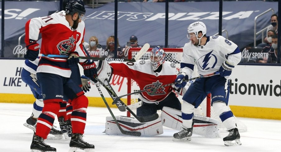 Columbus Blue Jackets goalie Joonas Korpisalo (70) makes a blocker save during the second period against the Tampa Bay Lightning at Nationwide Arena.