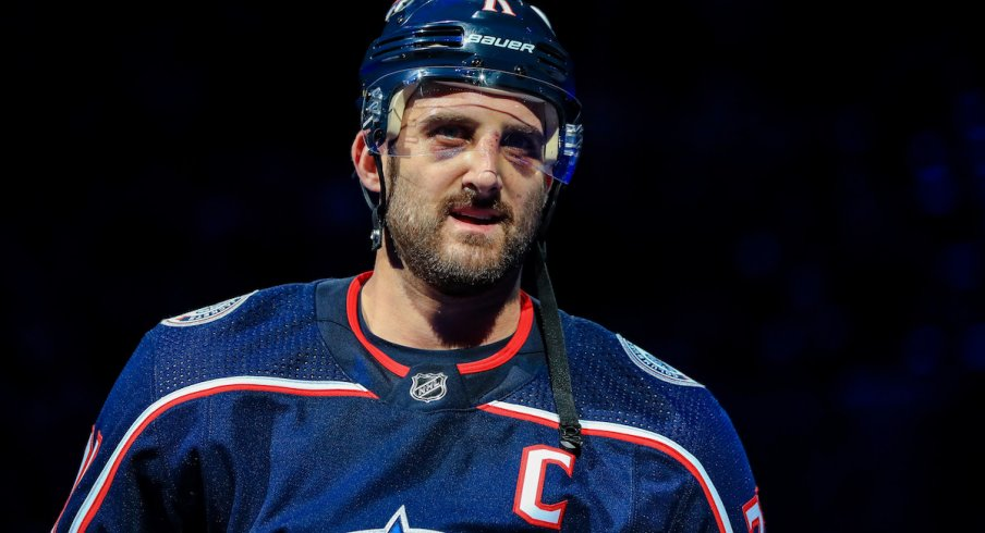 Columbus Blue Jackets captain Nick Foligno before a game at Nationwide Arena against the Tampa Bay Lightning.