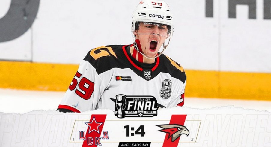 Yegor Chinakhov scored in Game 1 of the Gagarin Cup Final