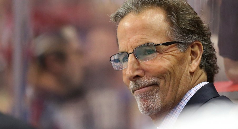 Dec 2, 2017; Washington, DC, USA; Columbus Blue Jackets head coach John Tortorella looks on from behind the bench against the Washington Capitals in the second period at Capital One Arena.