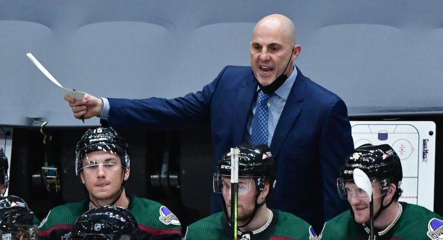 Arizona Coyotes head coach Rick Tocchet reacts during the second period against the Anaheim Ducks at Gila River Arena.