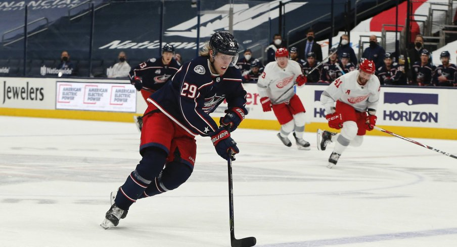 Mar 2, 2021; Columbus, Ohio, USA; Columbus Blue Jackets right wing Patrik Laine (29) moves the puck against the Detroit Red Wings during the first period at Nationwide Arena.