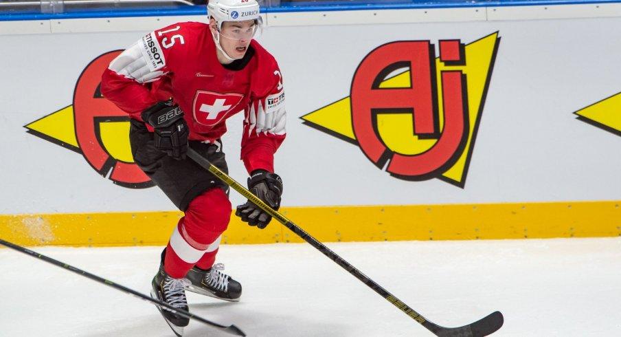 BRATISLAVA, SLOVAKIA - MAY 14: #15 Gregory Hofmann (SUI) skates during the 2019 IIHF Ice Hockey World Championship Slovakia group game between Switzerland and Austria at Ondrej Nepela Arena on May 14, 2019 in Bratislava, Slovakia.