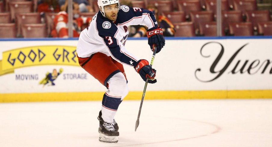 Apr 20, 2021; Sunrise, Florida, USA; Columbus Blue Jackets defenseman Seth Jones (3) passes the puck against the Florida Panthers during the second period at BB&T Center.