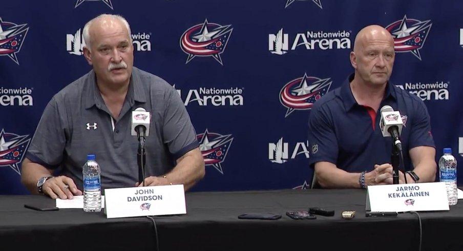 John Davidson (left) and Jarmo Kekalainen (right) address the media.