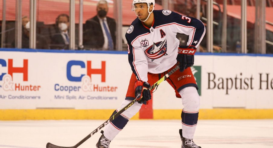Apr 3, 2021; Sunrise, Florida, USA; Columbus Blue Jackets defenseman Seth Jones (3) controls the puck against the Florida Panthers during the first period at BB&T Center.