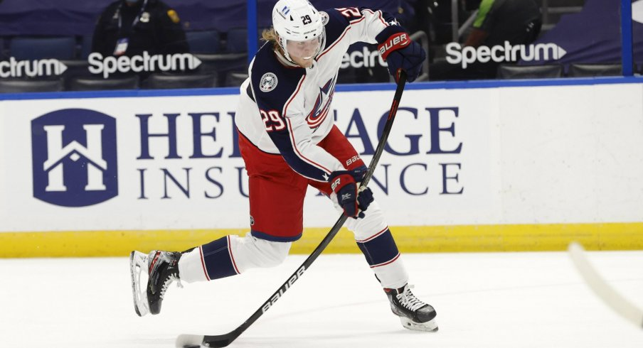 Apr 1, 2021; Tampa, Florida, USA; Columbus Blue Jackets right wing Patrik Laine (29) shoots against the Tampa Bay Lightning during the second period at Amalie Arena.