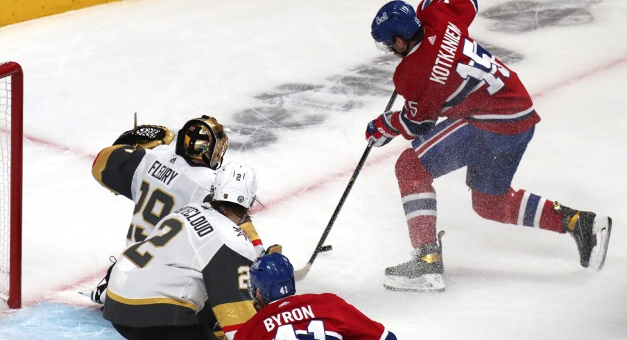 Jesperi Kotkaniemi skates in the NHL playoffs