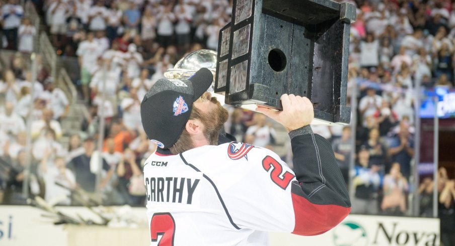 Steve McCarthy celebrates winning the Calder Cup with the Lake Erie Monsters.