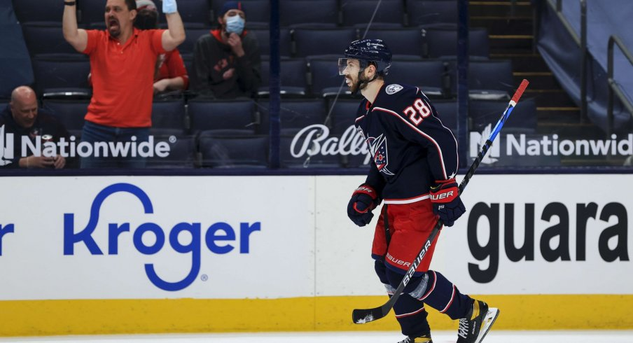 Apr 27, 2021; Columbus, Ohio, USA; Columbus Blue Jackets right wing Oliver Bjorkstrand (28) reacts to scoring the game deciding goal in the shootout against the Detroit Red Wings Nationwide Arena.